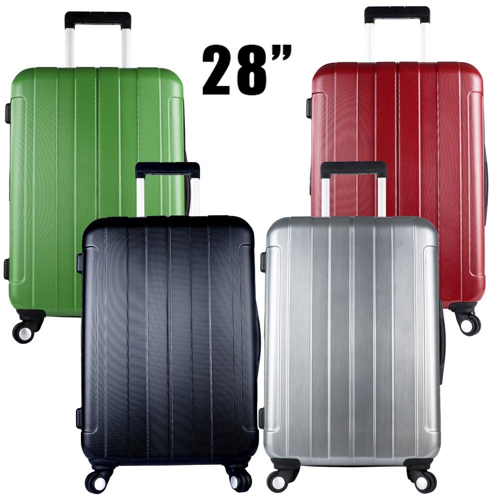1 Piece Large ABS PC 28 Inch Lightweight Hardside Travel Rolling Luggage Suitcase Spinner 4 Wheels 4 Colors XQ018 19inch leopard pattern hardside abs pc suitcase rolling luggage