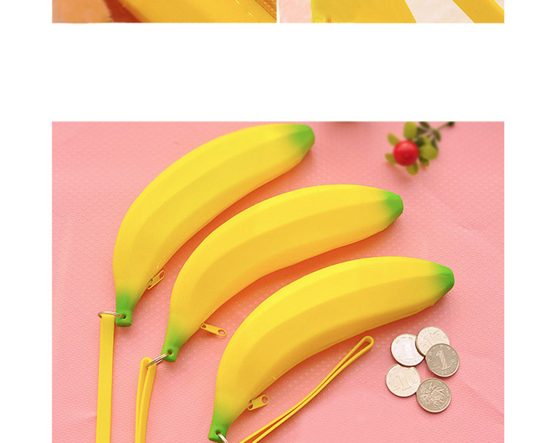 Cute Coin Purse Banana Pencil Case Kawaii Bag Silicone Purse Children's Purses For Kids Yellow Ulrica Coin Bags For Women Funny (6)