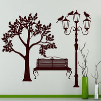 Tree Wall Decals Street Decal Vinyl Bird Sticker Lantern Bathroom Bedroom