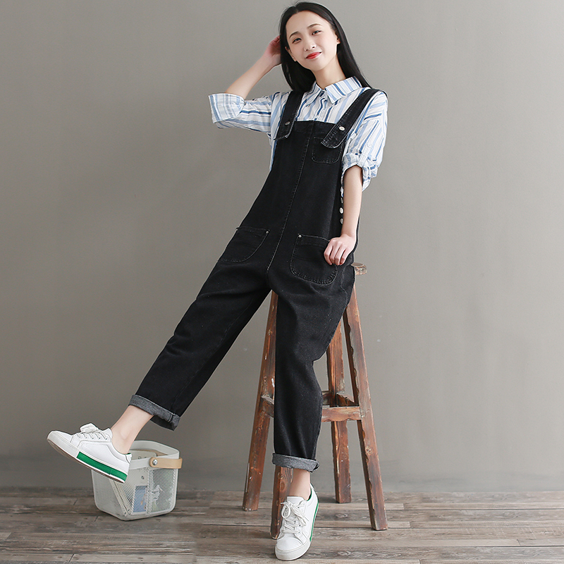 2019 Denim Jumpsuits Women Jeans Overalls Vintage Casual High Waist Jeans Pants Trousers Female Black Jumpsuit Romper in Jumpsuits from Women 39 s Clothing