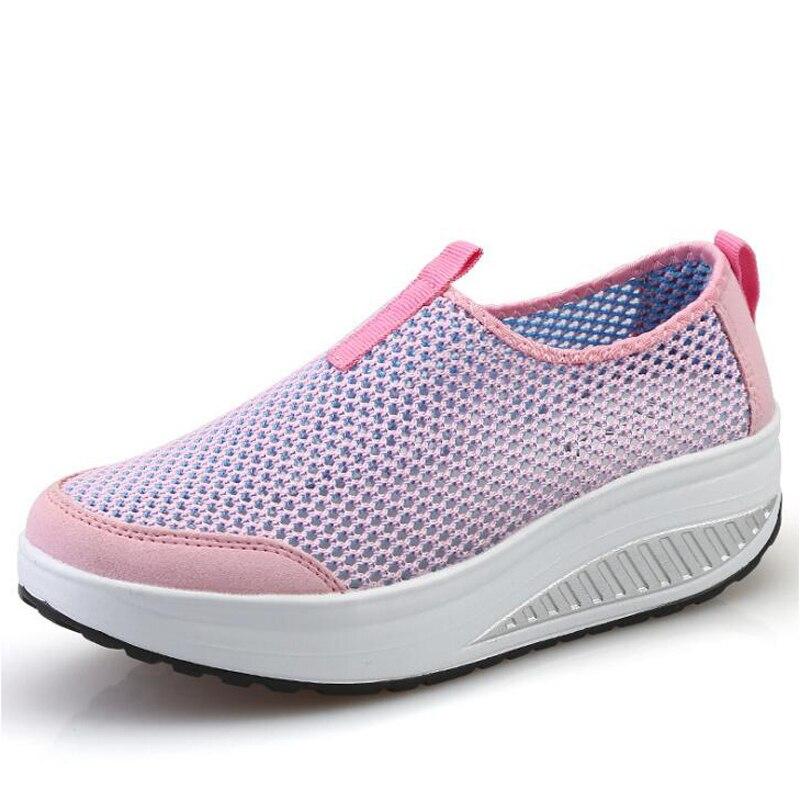 Women Flat Shoes Autumn Fashion Women Casual Shoes Flats Platform Breathable Mesh Ladies Flat Shoes Black Color