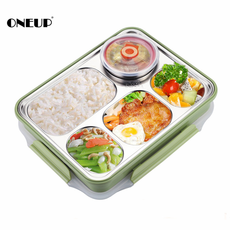 ONEUP Lunch Box High Quality Stainless Steel Leak-proof large Bento Boxes Soup Container 5 Compartments School DinnerwareONEUP Lunch Box High Quality Stainless Steel Leak-proof large Bento Boxes Soup Container 5 Compartments School Dinnerware