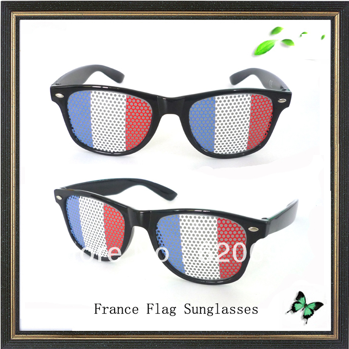France glasses promotion printed lens glasses pinhole lens sticker sunglasses with custom logo in movie tv costumes from novelty special use on
