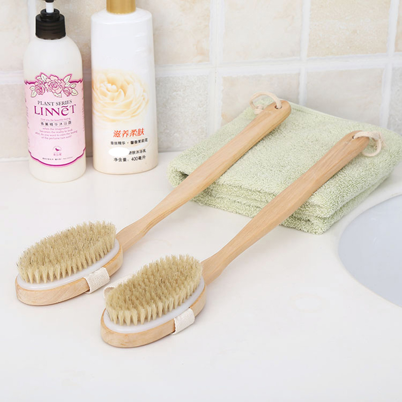 2 In 1 Removable Long Handled Wooden Natural Bristle Brush