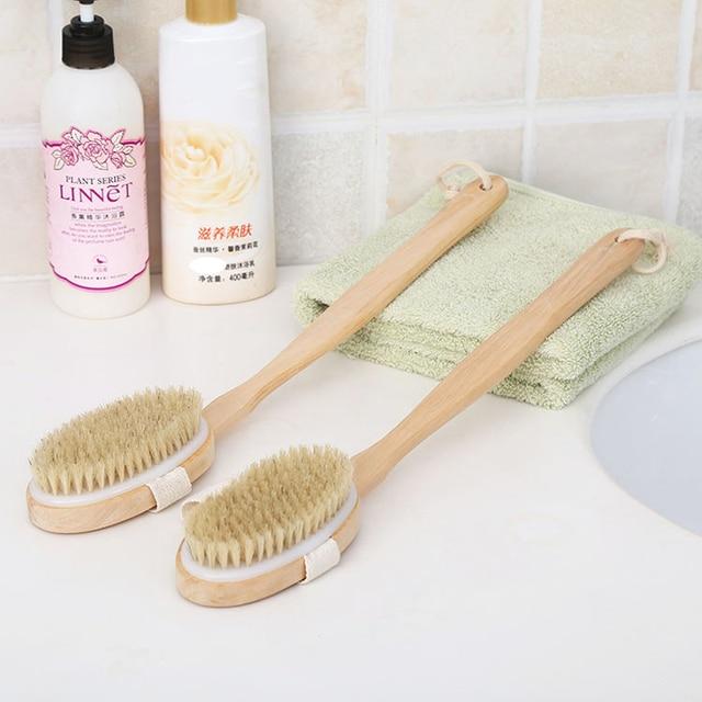 2 In 1 Rimovibile lungo manico in legno spazzola di setole naturali spazzola da