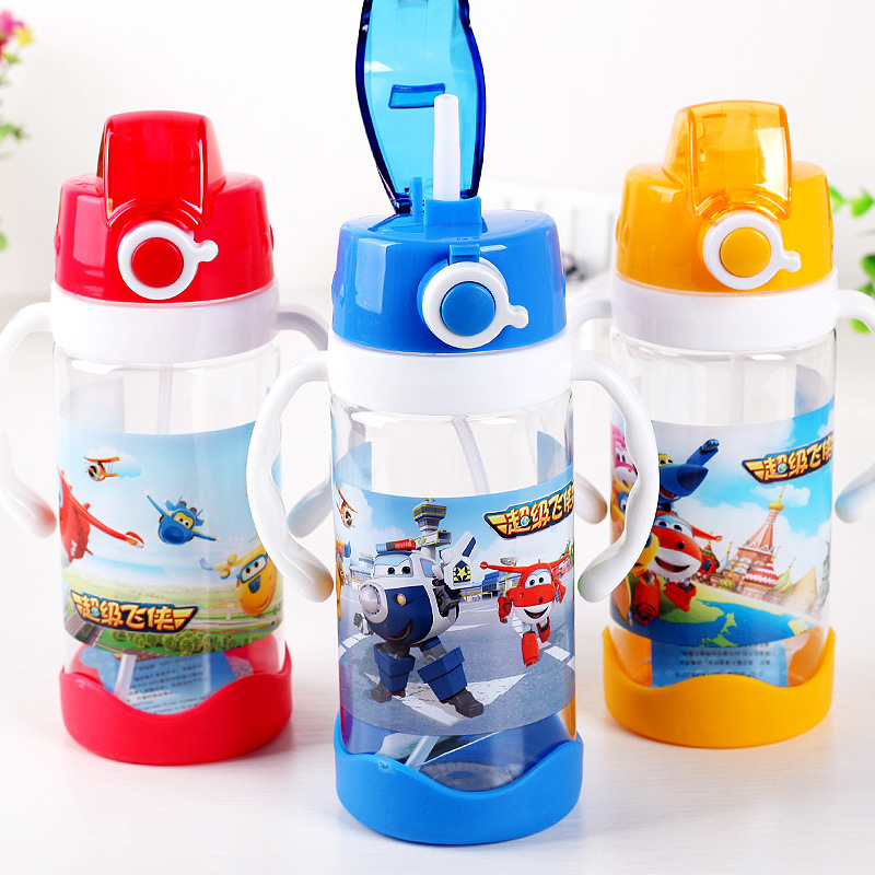 Creative Cartoon Child Plastic Straw Water Bottle Kids Portable Leak proof Outdoor Sport Kettle Food Flask