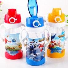 Kreative Cartoon Kind Kunststoff Stroh Wasser Flasche Kinder Tragbare dicht Outdoor Sport Wasserkocher Lebensmittel-kolben Student Travel Tasse