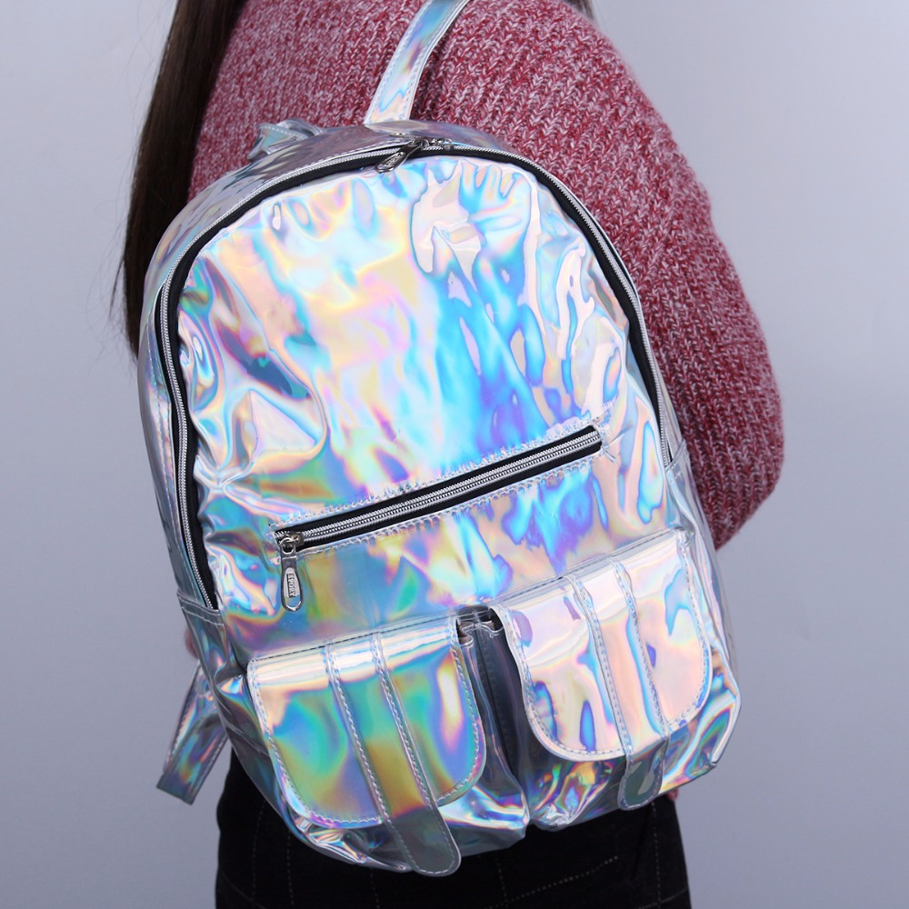 Hologram Silvers: TEXU HOLOGRAPHIC Gammaray Hologram Women Backpacks For