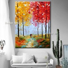 100%Handpainted canvas painting Autumn Scenery Oil Painting modern Wall Picture for Living Room decorative wall picture