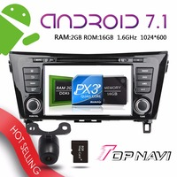 Topnavi 8'' Android 7.1 Auto DVD Players for Nissan QashQai X Trail 2014 Automotive Vehicle Video Audio Free Map Update Media