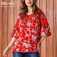 SBetro Floral Lace Blouse Ladies Print Crew Neck 3/4 Bell Sleeve Plus size Casual Tunic Top Women Blouses Shirt