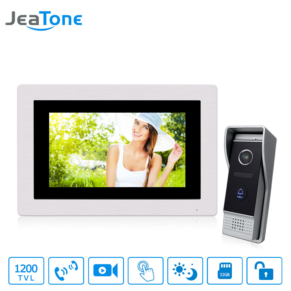 7 inch Touch Screen 4-Wired Video Door Phone Video Intercom Video Door Bell Home Security System Supported Motion Detection 7 inch password id card video door phone home access control system wired video intercome door bell