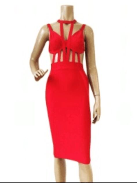 2016 new arrival women factory grils   dresses wholesale high quality red  strappy cage bandage dresses 965c64aff06a