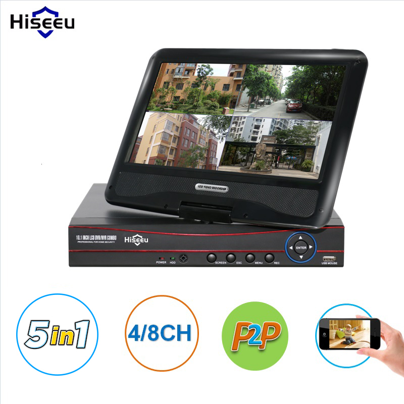 Hiseeu CCTV 4/8CH 1080N 5 in 1Digital Video Recorder with 10.1 LCD Screen Hybrid DVR HVR NVR Home Security System P2P H.264 sanwa button and joystick use in video game console with multi games 520 in 1