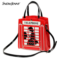 Women Bags Leather Patchwork Embroidery Handbags Shoulder Bags Messenger Bag Totes Braccialini Style Cartoon Red Telephone Box