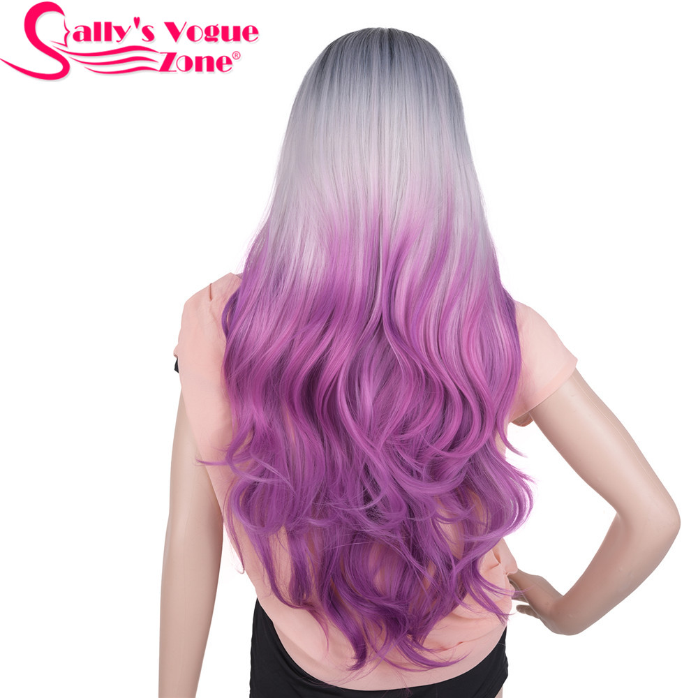 Sallyhair Heat Resistant 24 Inch Long Wavy Cosplay Hair Synthetic Wigs 280 Gram Ombre Black Grey Purple Wig No Lace For Women