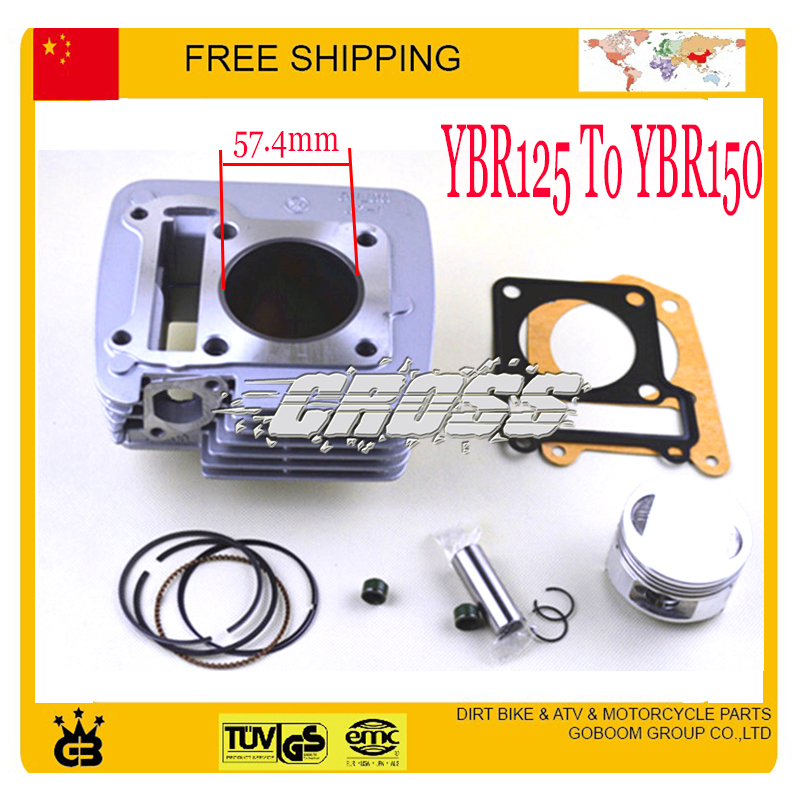 Modified YBR125 to YBR150 150cc cylinder assy block assembly 57.4mm piston ring gasket 125cc motorcycle free shipping 125cc cbt125 carburetor motorcycle pd26jb cb125t cb250 twin cylinder accessories free shipping