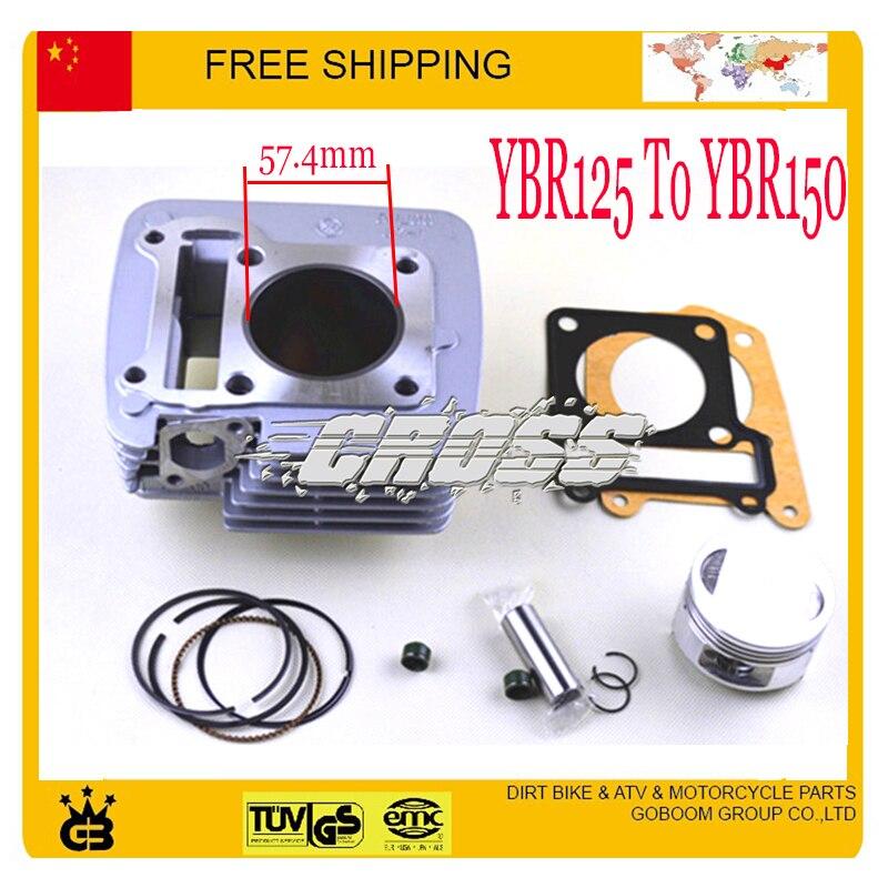YBR125 modifié à YBR150 150cc assemblage de bloc de cylindre assy 57.4mm joint de segment de piston 125cc moto livraison gratuite
