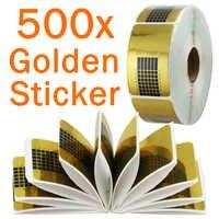 OPHIR 500 stücke Schablonen Nail art Guide Formular Aufkleber UV Gel Tip Extension Goldene Nail Papier Halter Nagel Werkzeug _ KD053