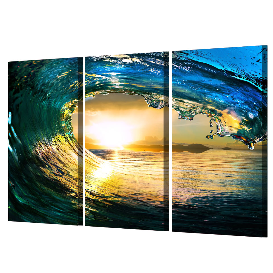 Printed 3 piece canvas art ocean wave sunset sea Paintingcanvas painting wall art Free shipping/NY 5741-in Painting & Calligraphy from Home & Garden ...
