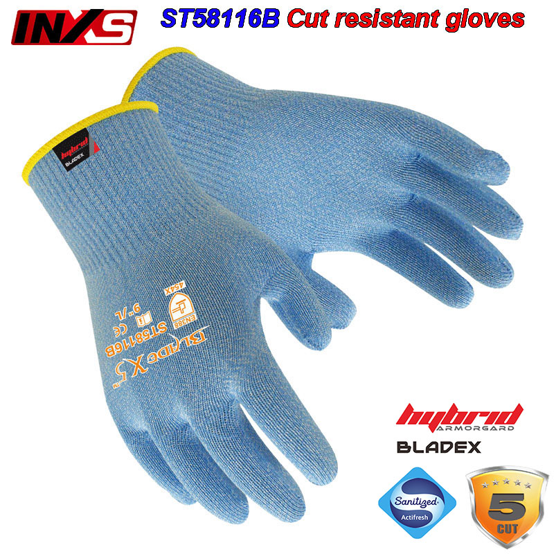 SAFETY-INXS Cut resistant gloves Can contact food Antibacterial protection gloves Comfortable Breathable safety gloves oil free comfortable cheap nitrile gloves white nylon knitted hands protection gloves white mechanic construction industry