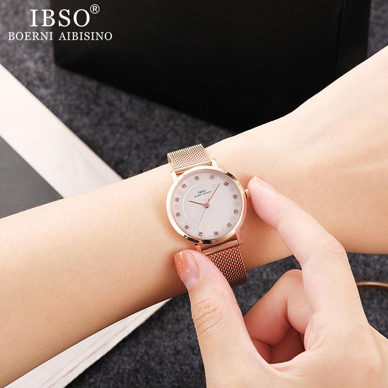IBSO Women Quartz Watch Set Rose Gold Crystal Design Bracelet Necklace Watch Sets Female Jewelry Set Watch Lady's Wife Mom Gift Jewelry & Watches