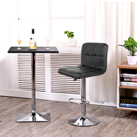 2PCS Black PU Leather Swivel Bar Stools Chairs Height Adjustable Counter Pub Chair Barstools Modern Style Fast Shipping HWC