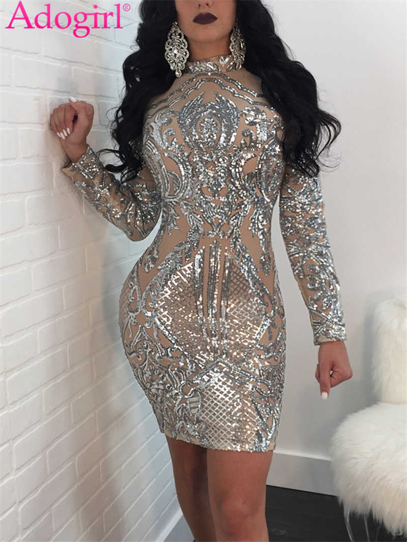 Sexy Gold Mini Dress Bodycon Sequin New Year Party Dress