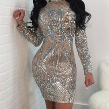 Adogirl 2018 Stylish Nude Sequins Long Sleeve Club Dress Gorgeous Turtleneck Bodycon Mini Party Dresses Stage