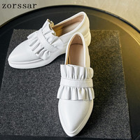 Genuine Leather Flats loafers shoes slip on Woman Casual Shoes Moccasins Soft Ladies Footwear women flat Pointed toe shoes