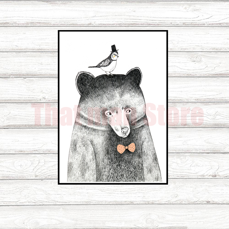 4 style Animal Design Coated paper Poster Creative Coffee Bar Counter For Room Decor 42*30cm