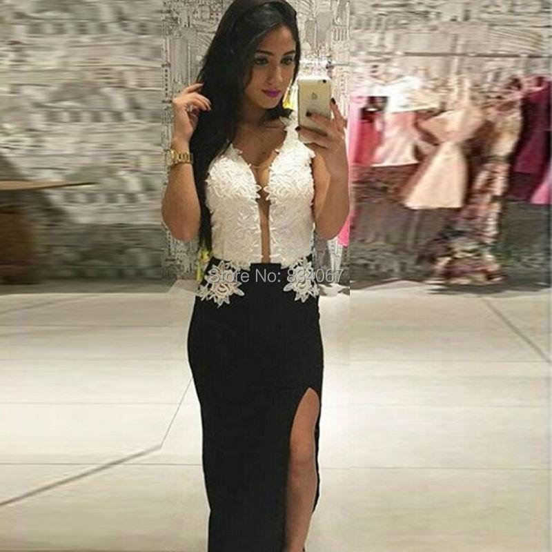 Klassisk sort og hvid kappe Prom Kjoler 2016 Sexy-3368