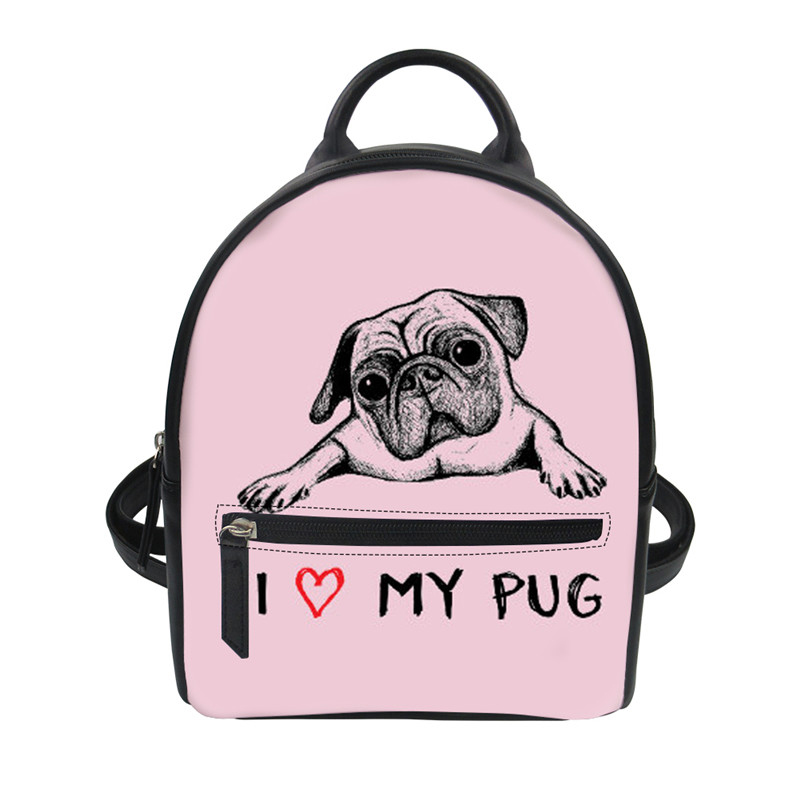 Customized Women PU Leather Backpack I Love My Pug