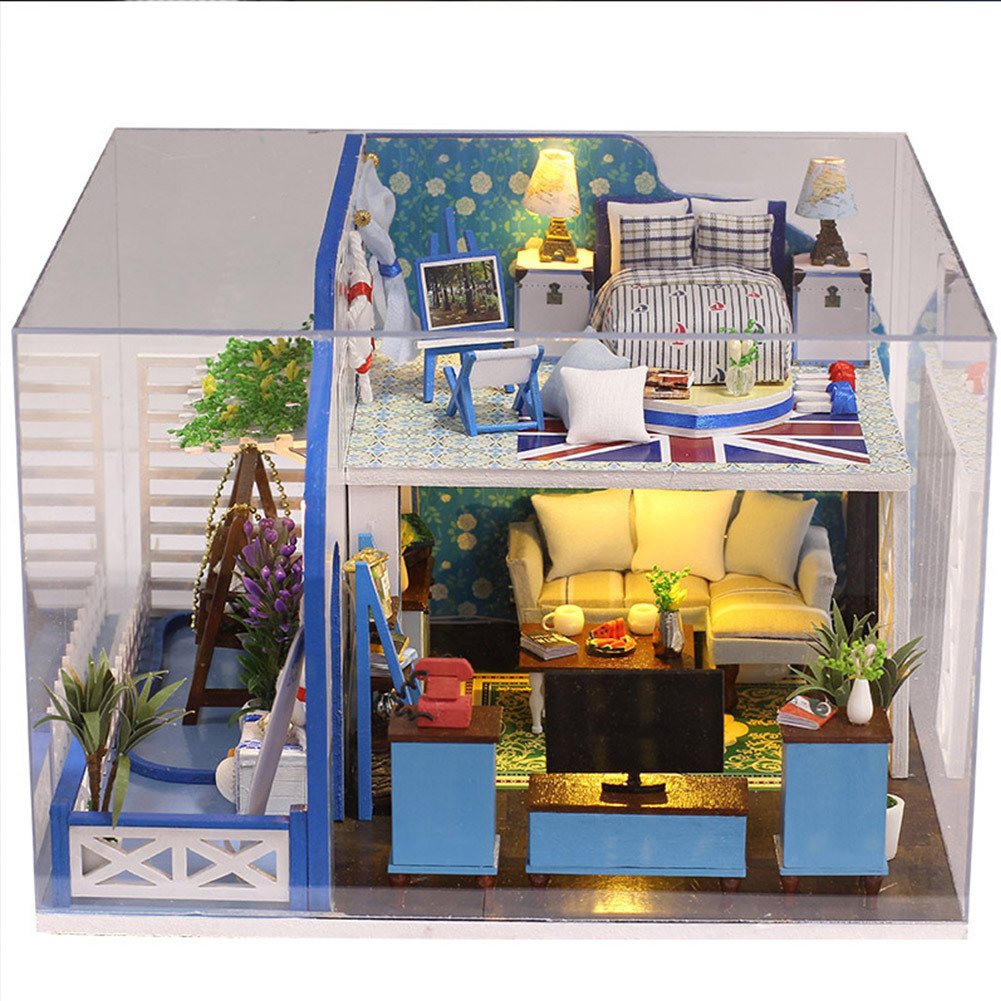 DIY Assemble Dollhouse Toys Blue Ocean Wooden House Toy Wooden Miniatura Doll Houses Miniature With Furniture LED Music Box large size diy wooden miniatura doll house with light music furniture handmade 3d miniature dollhouse toys wedding gits