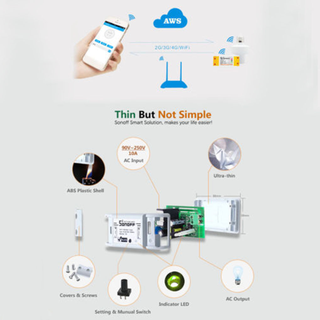 Itead Sonoff Wireless Wifi Smart Switch App Control Home Iphone 4 Screws Diagram Click Here Automation Module Timer Universal Light Bulb Electrical Devices
