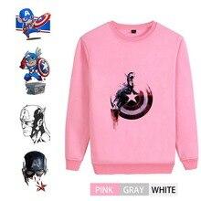 Captain America Marvel Movie Pattern College O-NECK Cotton Sweatshirts leisure Leisure Unisex Jersey A193291