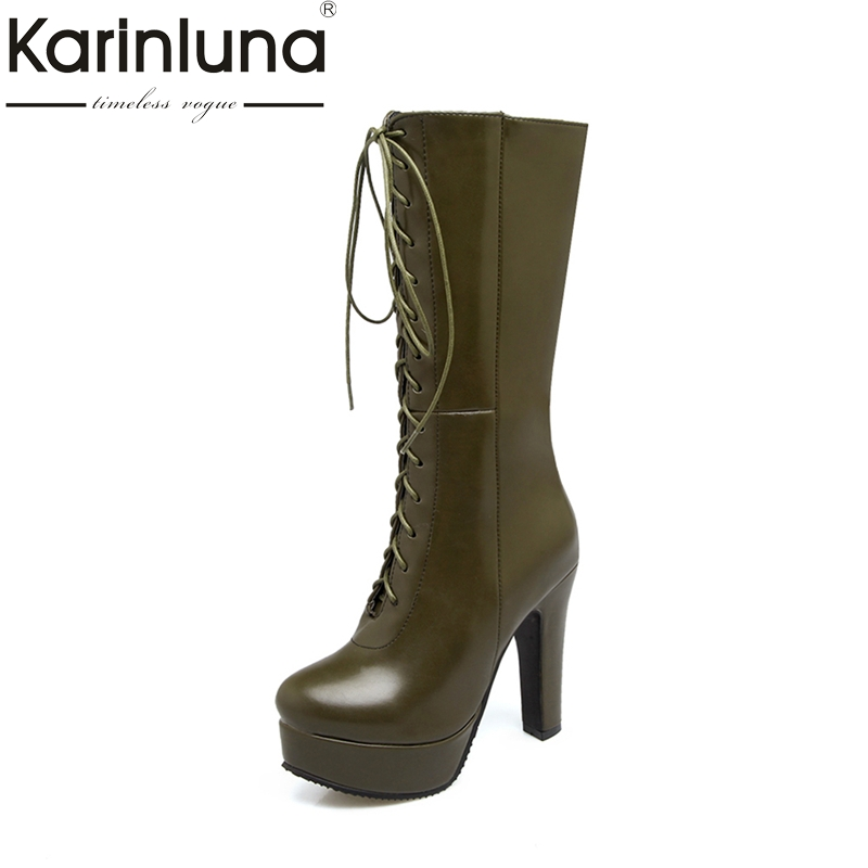 KARINLUNA Plus Size 33-50 Super High Heels Women Shoes Woman Fashion Platform Shoelace Black Party Winter mid-calf Boots spring autumn women thick high heel mid calf boots platform woman short boots high heels shoes botas plus size 34 40 41 42 43