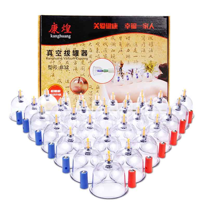 12 24 32Pcs Massage Cans Health Monitors Chinese Cupping Therapy Cans Opener Pull Vacuum Cupping Banks Tank Set Face Lift Tools(China)