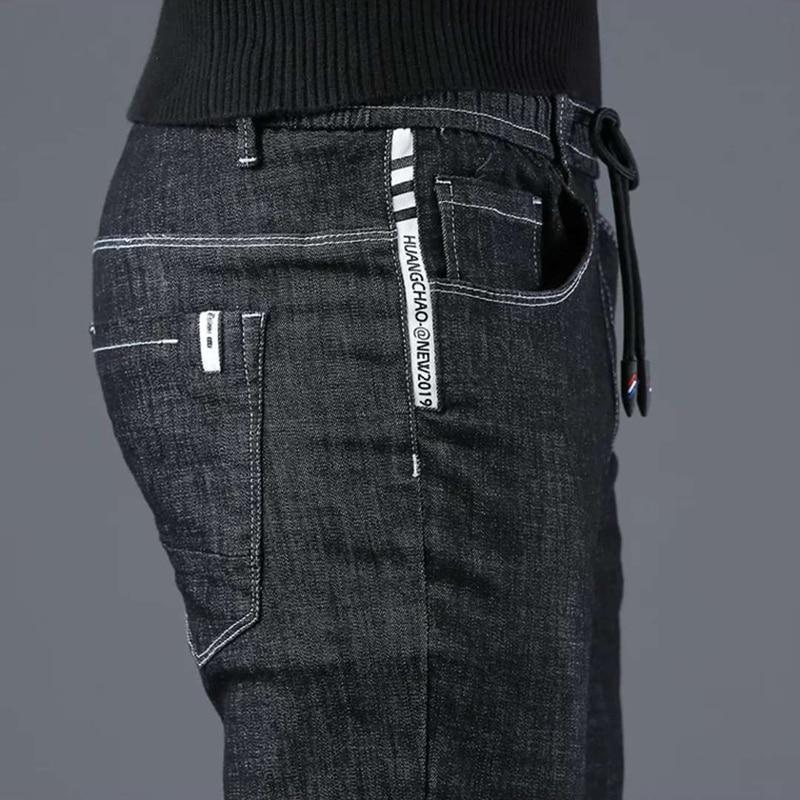 Spring Men's Jeans 2019 New Korean Version Of The Trend To Trim Body Elastic Casual Black Pants Men's Fall Suit