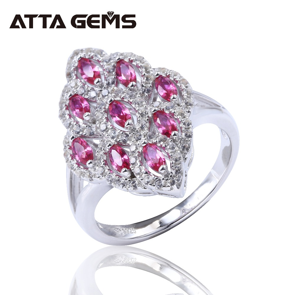 Red Ruby Sterling Silver Rings Women Wedding Engagement Classic Rings Created Ruby Marquise Shape Rings S925 Romantic Design