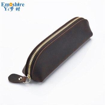 Кожаная сумка для ручек на молнии ручная работа кожаная сумка для ручек креативный модный канцелярский Ретро пенал сумка для хранения канц...