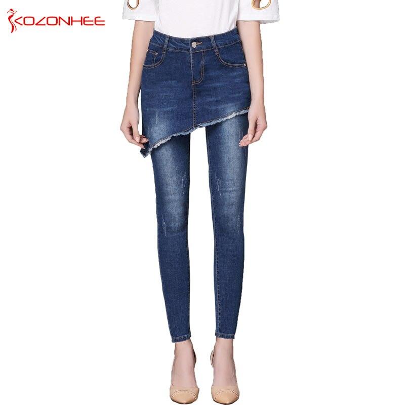 Stretch   Jeans   Women with High Wais Skirts + pants Up Waist Design High Waist elasticity Skinny Women   Jeans   #98