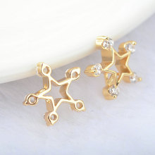 (31)6PCS 13*13MM 24K Gold Color Brass with Zircon Star Charms Pendants High Quality Diy Jewelry Findings Accessories