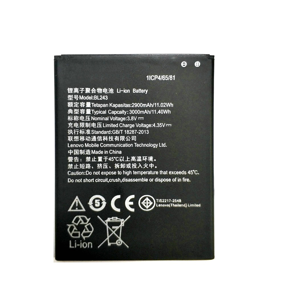 2019 New 3000mAh BL243 Battery for Lenovo K3 Note K50-T5 K50-T3S A7000 A5500 A5860 A5600 A7600 Replacement mobile phone battery image