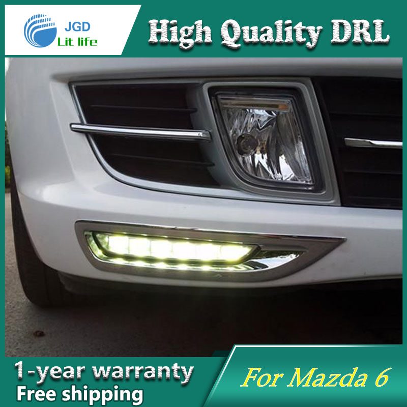 Free shipping !12V 6000k LED DRL Daytime running light case for Mazda 6 2008 2009 2010 fog lamp frame Fog light Car styling