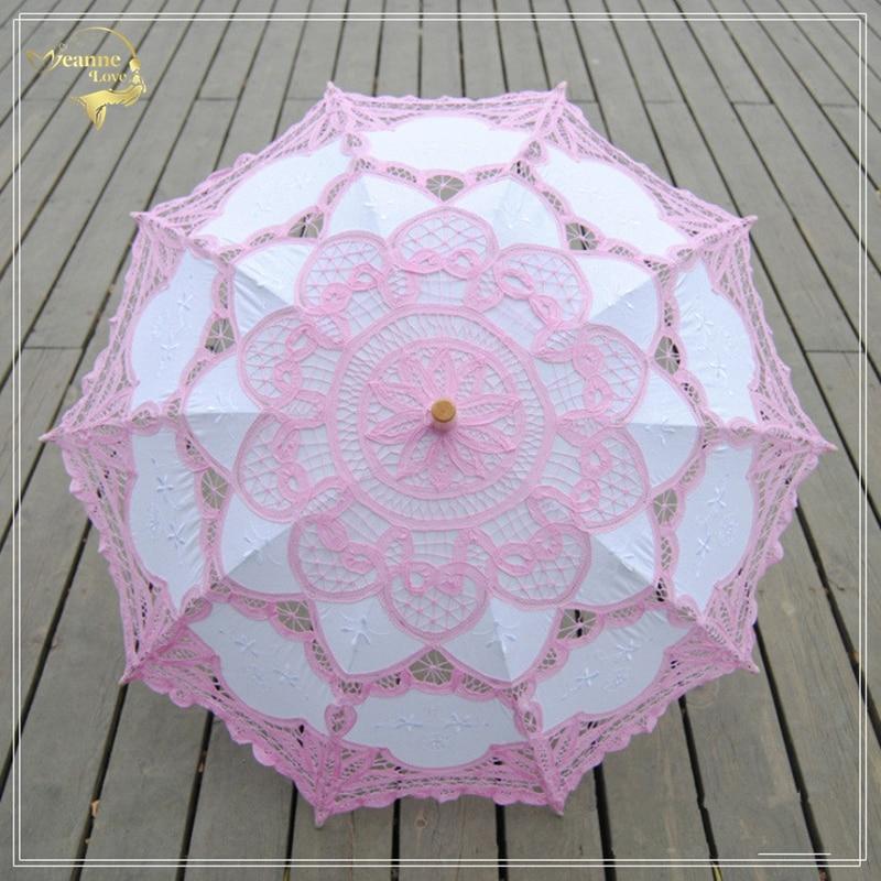 Chinese Handmade Lace Sun Umbrella Parasol Embroidery Wedding Umbrella Decoration For Bridal Umbrella Ombrelle Mariage 9Colors