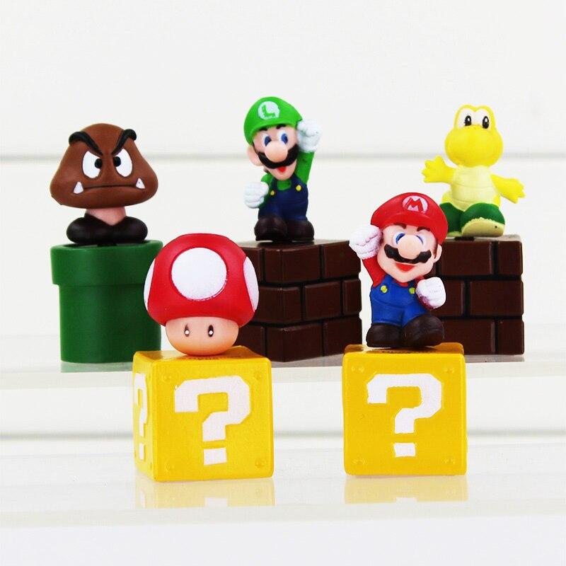"""5pcs/Lot Super Mario Bros mini figures Toy bundle 5cm 2"""" Mario Goomba Luigi Koopa Troopa Mushroom"""