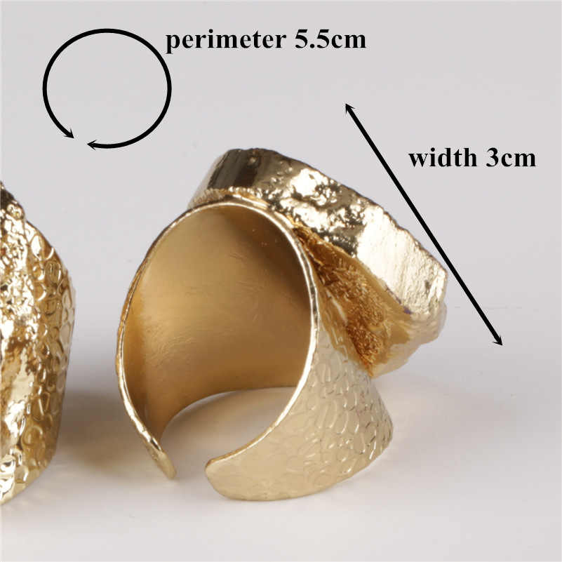 Big ทอง cloundy light สีเทาสีขาว geode คริสตัล slice หินลูกปัด charm ปรับเปิดแหวนค้อนทุบ cuff สำหรับผู้หญิง man
