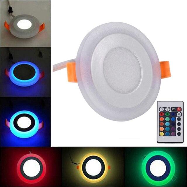 Luz Do Painel de LED Rodada 24 16 9 6 w w w w 3 Modelo Lâmpada LED Duplo Cor Do Painel de Luz RGB Branco Frio/RGB Branco Quente com Controle Remoto
