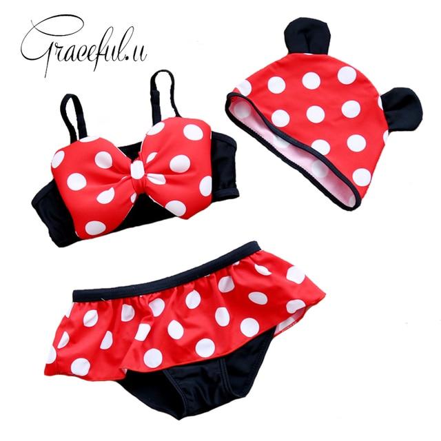 2017 Summer Cartoon Baby Girls Swimwear Cute Bow Tie Childrenu0027s Bikini Kids  Monokini Swimsuit Maillot De